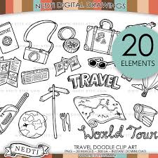 Travel Doodle Clip Art PNG Instant Download Traveling Clipart Vacation Holiday Map Tour Hand Drawn Digital Logo Design Nedti From On Etsy