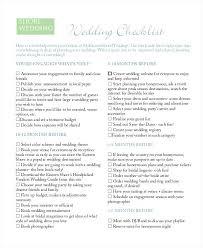 Wedding Check List Checklist Planning Sample Month Before