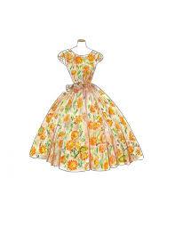 Vintage 1950 Watercolor Dress Fashion Illustration Sunflower Print Retro Sketch