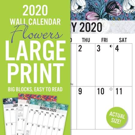"Avalon 2020 Large Print Wall Calendar, Easy to Read, Floral Design, 12"" x 12"""
