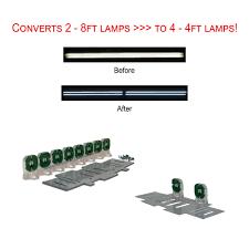 led t8 retrofit kit converts 2 8ft fluorescent into 4 4ft