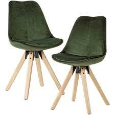 schalen esszimmer stühle in grün samt modern 2er set