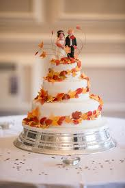 Wedding Cake With Autumn Leaves Decoration