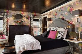 Wallpaper Defines The Color Scheme Of This Bedroom With Dark Ceiling Design Fiddlehead