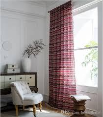 großhandel vorhang fertig rot bohemian kleines fenster küche vorhang baumwolle und leinen druck wohnzimmer halb shading erkerfenster gardinen