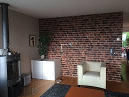 wohnzimmer mit backstein optik haus wandgestaltung