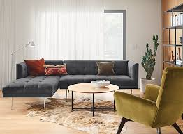 Wynwood Sofa With Left Arm Chaise In Flint Fabric