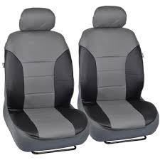 Oxgord Trim 4 Fit Floor Mats by Motor Trend Two Tone Black Gray Pu Leather Car Seat Covers Trim