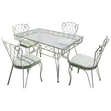 Five-Piece Lattice Pattern Wrought Iron Dining Set