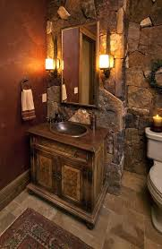 Rustic Vanity Lights White Toilet For Bathroom Decor With And Wood Flooring