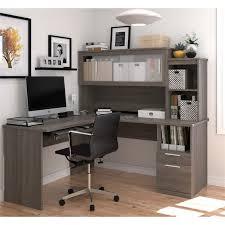 bestar dayton l shaped desk in bark gray 88420 47