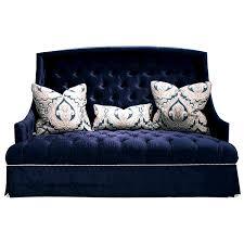 hollywood regency sofa navy blue tufted haute house home