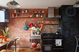 Creative Wall Shelves Design Ideas With Hooks For Rustic Kitchen Themes Using Red Brick Decoration