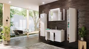 posseik badmöbel set turin 100 cm 4 tlg mit led spiegelschrank weiß hochglanz