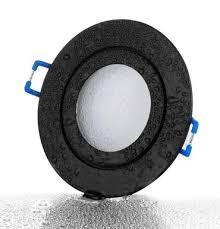 feuchtraumstrahler schwarz matt rund ip44 badezimmer mit gu10 fassung l 230v