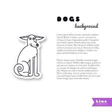 Adult Dog With Big Ears Vector Line Sticker On White Background Page Template For