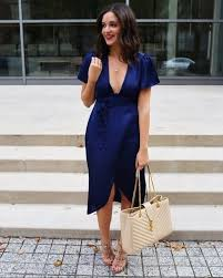 Date Night Outfit Wrap Dress In Navy Blue