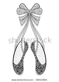 Adult Anti Stress Coloring Page Vector Zentangle Ballet Dance Shoes Symbol Patterned Illustration Hand Drawn Ornamental Pointe With