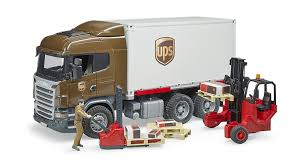 Amazon.com: Bruder Scania R-Series Ups Logistics Truck With Forklift ...