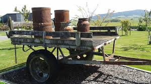 Old Farm Trailer With Cream Cans