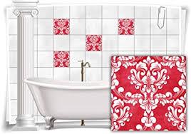 medianlux fliesen aufkleber fliesen bilder damast barock nostalgie retro floral rot bad wc deko folie badezimmer dekoration 12 stück 15x15cm