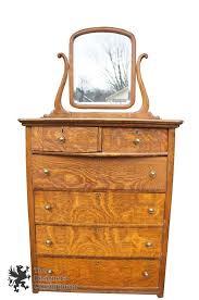 antique quartersawn tiger oak dresser original beveled mirror