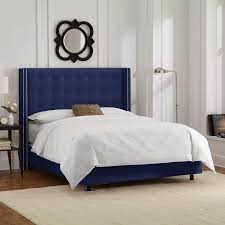Amazon King Tufted Headboard by Amazon Com Skyline Furniture Nail Button Tufted Wingback King Bed
