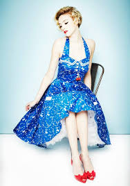 Hell Bunny Avast Swing Dress Set Sail In The This Marine Blue Halter Has A Fitted Bodice That Goes Into Flared Skirt