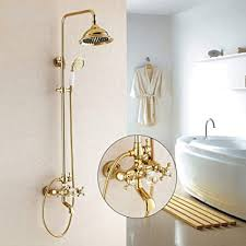 huasatao duscharmaturen gold badezimmer regendusche wasserhahn set mischbatterie mit handsprü wand bad duschkopf hj 859k