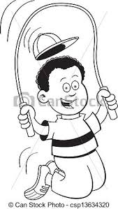 Cartoon boy jumping rope Black and white illustration of a