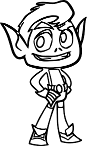 Teen Titans Go Beast Boy Good Coloring Page