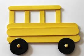 Kids Crafts School Bus Art Craft Preschool Features Sticks For