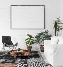 mockup posterrahmen im wohnzimmer hintergrund scandibohostil stockfoto und mehr bilder aktenmappe