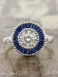 Unique Engagement Ring Sapphire Halo Vintage Inspired And With Filigree Inspiration