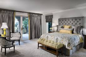 Tufted Headboard And Silken Drapes Give The Room An Air Of Luxury Design Decorating