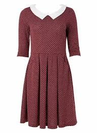 clara polka dot dress fit and flare with peter pan collar joanie