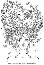 Print For The Adult Coloring BookPortrait Of A Beautiful Girl In Zentangle Style Page Vector Illustration Isolated On White Background