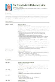 Application Engineer Resume Samples Work Experience