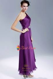 violet purple prom dress purple one shoulder chiffon evening gown