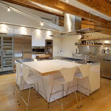 Stainless Steel Units Kitchen Island Penthouse In Udine Italy By