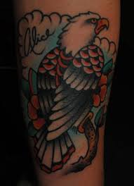 Here We Have A Perched Eagle Tattoo I Did On Amy Referenced Piece Of Sailor Jerry Flash For This The Signature Side Is Her Mothers