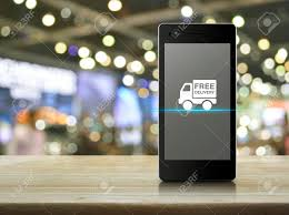 100 Truck Phone Free Delivery Icon On Modern Smart Screen On Wooden