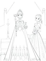 Anna Elsa Coloring Pages Kids Frozen For And