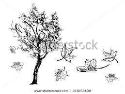 Sketch tree with falling leaves Vector illustration