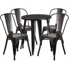 24 Round Black Antique Gold Metal Indoor Outdoor Table Set With 4 Cafe Chairs