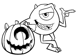 Pumpkin And Mike Wazowski Coloring Pages For Kids Printable Monsters Inc
