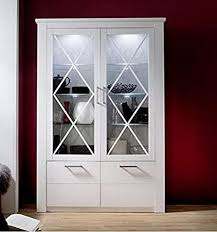 trendteam smart living wohnzimmer vitrine schrank wohnzimmerschrank 139 x 205 x 38 cm in pinie weiß struktur dekor im landhausstil