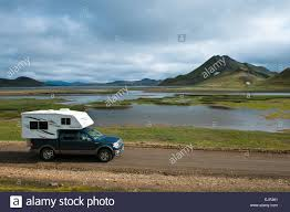Camping Car, Pickup Truck With Camper, Icelandic Landscape Stock ...