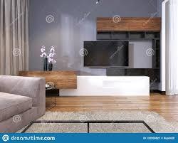 fernsehspeicher mit regalen im modernen wohnzimmer mit