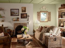 Rustic Style Living Room With Raks And Wall Arts Also Nice Flowers